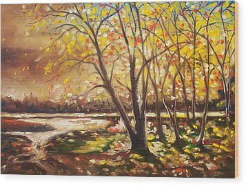 Wood Print featuring the painting Falling Leaves by Emery Franklin
