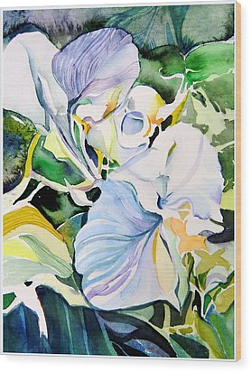 Falling Orchids Wood Print by Mindy Newman