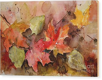 Wood Print featuring the painting Falling by Sandra Strohschein