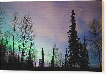 Falling Star And Aurora Wood Print by Ron Day