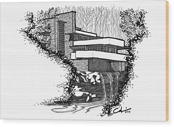 Falling Water Wood Print by Calvin Durham