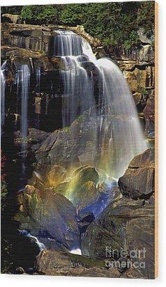 Falls And Rainbow Wood Print