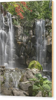Falls At Anderson Japanese Gardens Wood Print