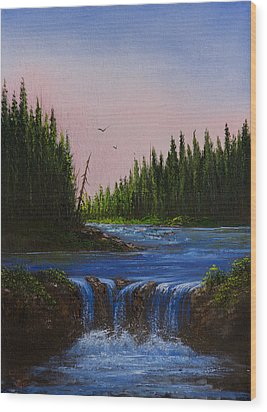 Falls At Rivers Bend Wood Print by C Steele