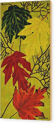 Wood Print featuring the painting Fall's Gift Of Color by Celeste Manning