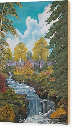 Wood Print featuring the painting Rushing Waters  Falls  by Sharon Duguay