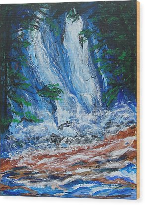 Waterfall In The Forest Wood Print by Diane Pape