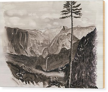 Falls Of The Yosemite Painting Wood Print by Warren Thompson