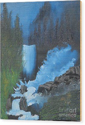 Falls On The Rocks Wood Print by Dave Atkins