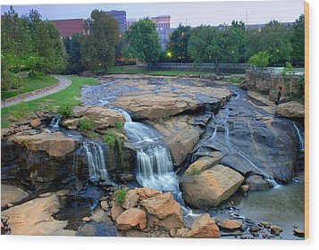 Falls Park Waterfall At Dawn In Downtown Greenville Sc Wood Print