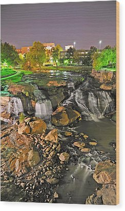 Falls Park Waterfall At Night In Downtown Greenville Sc Wood Print