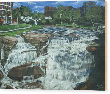 Wood Print featuring the painting Falls River Park by Bryan Bustard