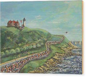 Wood Print featuring the painting Falmouth Road Race by Rita Brown