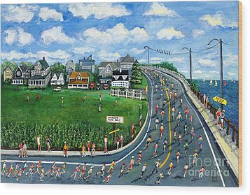 Wood Print featuring the painting Falmouth Road Race Running Falmouth by Rita Brown