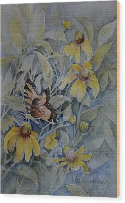 False Sunflower And Butterfly Wood Print