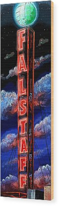 Falstaff Neon Tower Sign Wood Print by Terry J Marks Sr