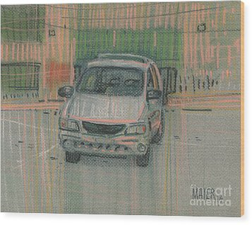 Wood Print featuring the painting Family Car by Donald Maier