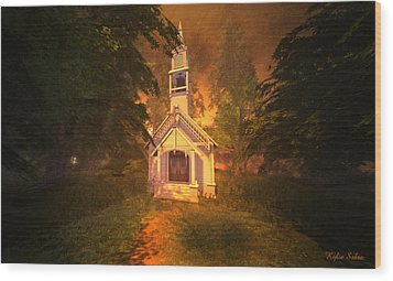 Wood Print featuring the digital art Family Chapel by Kylie Sabra