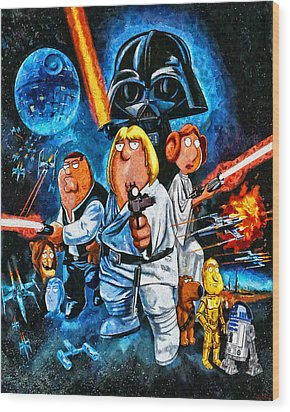 Family Guy Star Wars Wood Print