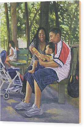 Family In The Park Wood Print by Colin Bootman