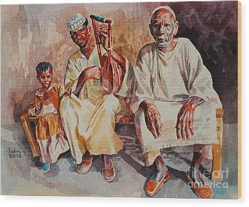 Family Wood Print by Mohamed Fadul
