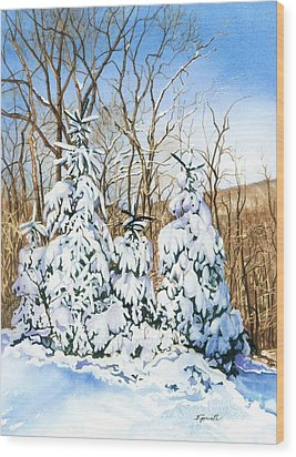 Family Of Four Trailside At 7 Springs Wood Print by Barbara Jewell