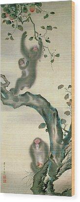 Family Of Monkeys In A Tree Wood Print by Japanese School