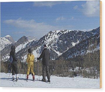 Family On Ski Contemplating Mountains Wood Print by Sami Sarkis