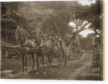 Family Out Carriage Ride On The 17 Mile Drive In Pebble Beach Circa 1895 Wood Print