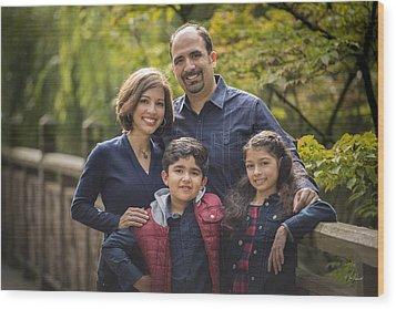 Family Portrait On Bridge - 1 Wood Print