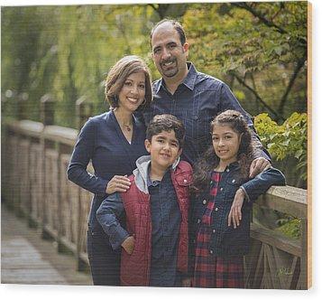 Family Portrait On Bridge - 2 Wood Print