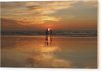 Family Reflections At Sunset -3  Wood Print by Christy Pooschke