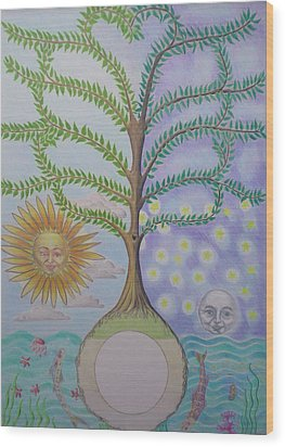 Family Tree Chart Sun Moon And Stars Wood Print by Alix Mordant