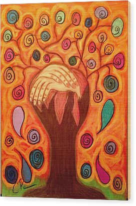 Family Tree Wood Print by Chrissy  Pena