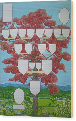 Family Tree Ruby-red Wood Print by Alix Mordant