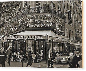 Famous Cafe De Flore - Paris Wood Print by Carlos Alkmin
