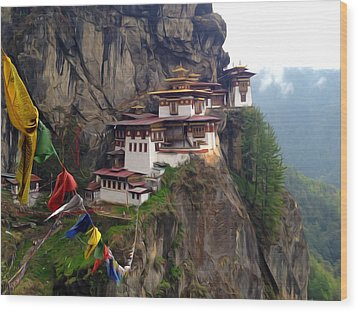 Famous Tigers Nest Monastery Of Bhutan 10 Wood Print