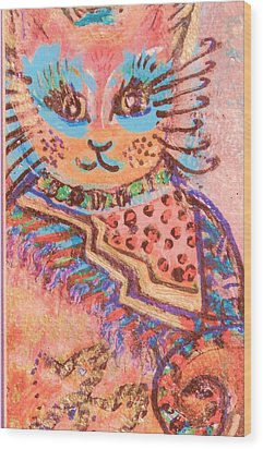 Fancy Cat Wood Print by Anne-Elizabeth Whiteway