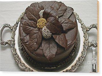 Fancy Chocolate Cake Wood Print by Pattie Calfy
