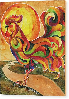 Fancy Feathers Rooster Wood Print by Sherry Shipley