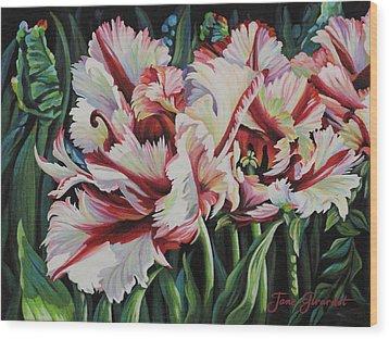 Fancy Parrot Tulips Wood Print