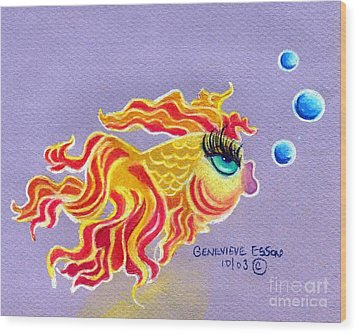 Fancytail Goldfish Wood Print by Genevieve Esson