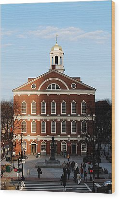 Wood Print featuring the photograph Faneuil Hall At Sunset by Caroline Stella