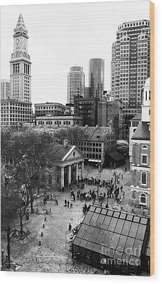 Faneuil Hall Marketplace Wood Print by John Rizzuto