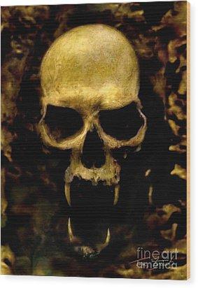 Fangs Wood Print by Tom Straub