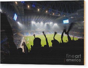 Fans Celebrating Goal Wood Print by Michal Bednarek