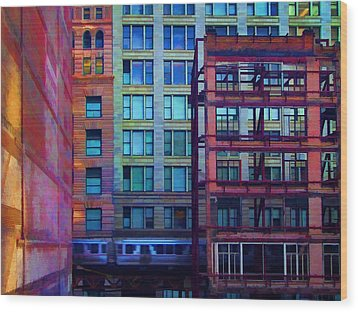 Wood Print featuring the pyrography Fantastical Chicago Loop by John Hansen