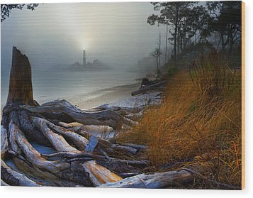 Wood Print featuring the photograph Fantasy Art-sea Fog Island Lighthouse Night-twisted Roots by Eszra Tanner