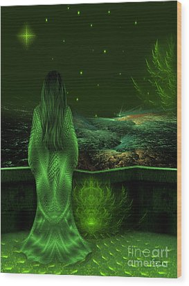 Fantasy Art - Wishing Upon A Star In A Green Night  By Rgiada  Wood Print