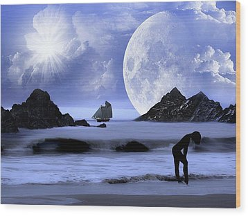 Wood Print featuring the digital art Fantasy Beach by Nina Bradica